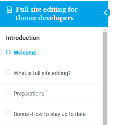 The lesson sidebar has a list of links to all lessons and quizzes, divided into chapters.