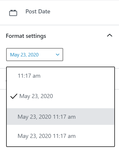 Post date block panel setting with a drop down where you can select the date format.