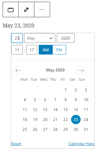The post date in the editor with the date picker showing.