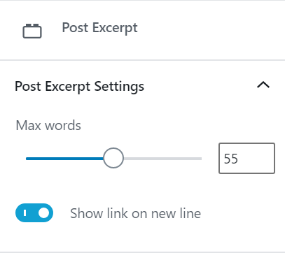 Post excerpt block panel settings with excerpt length and link position options.