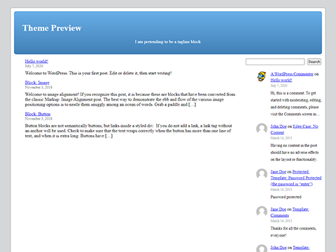 An example block based theme with a grey body background and blue header.