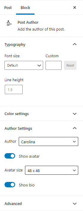 The post author sidebar includes two drop downs where you can select the author and the avatar size.