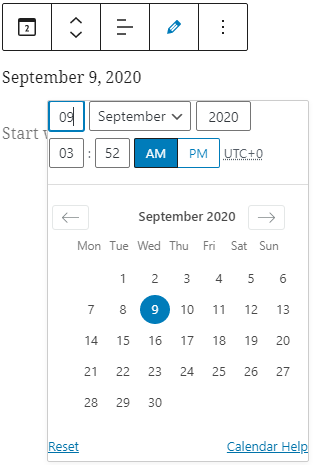 The post date block uses a calendar date picker.