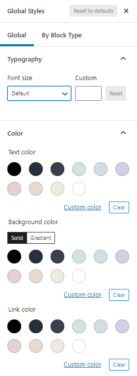 Global styles settings panel for colors and font sizes.