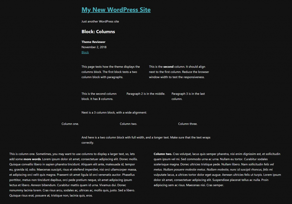 A screenshot of the front of the website with styles applied, displaying wide and full width columns blocks.