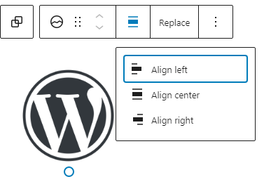 The site logo block with toolbar.