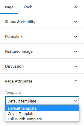 The page attributes section in the block editor where the Template option has  an expanded select list. The default template is selected in the list.