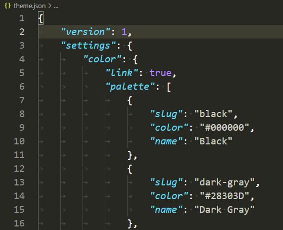 The theme.json configuration file with settings for a default color palette.