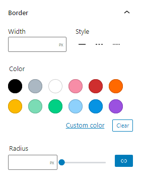 Button border controls in the block settings sidebar includes an input field for border width, a style selection option with solid, dashed and dotted. Below is a color selection option and a border radius option with an input field and a range slider.