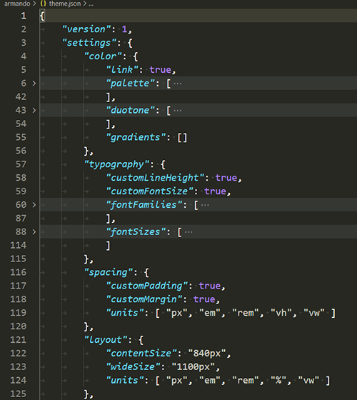 A view of the theme.json file from Armando. The code is truncated but displays the settings section with color, typography, spacing and layout settings.