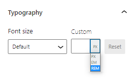 The custom font size option in the Typography panel has a number input field and list of selectable units: px, em, rem.